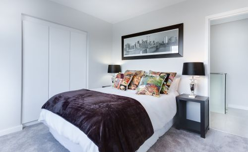 modern minimalist bedroom contemporary indoors