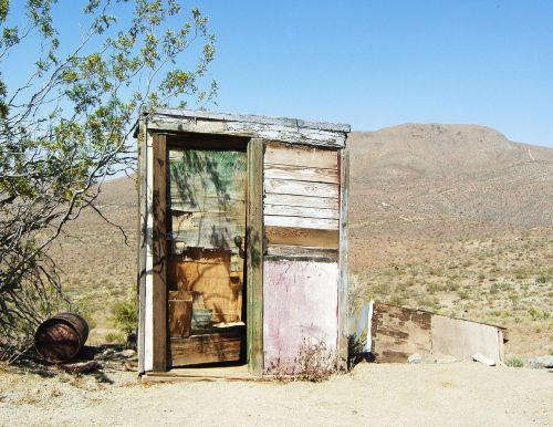 mojave desert outhouse dilapidated