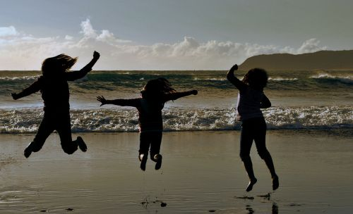 childhood silhouettes joy