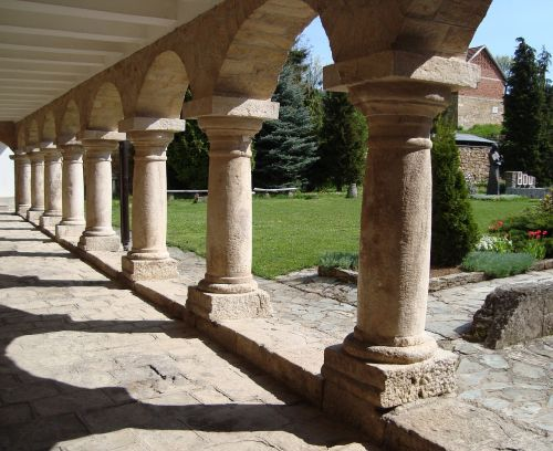 monastery colonnade courtyard
