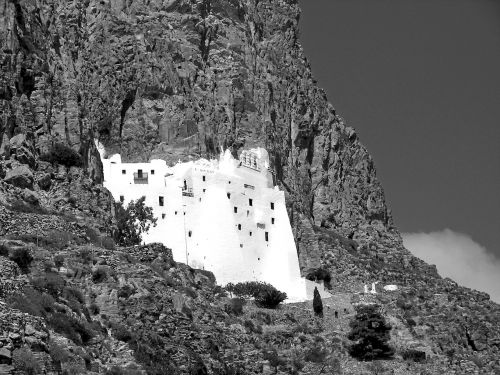 monastery cliff cyclades