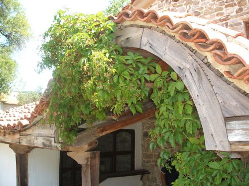 monastery roof overgrown romantic