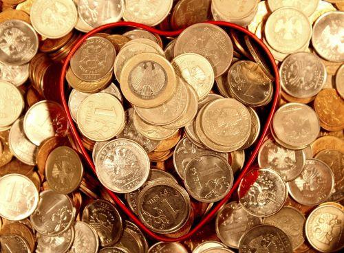 money coins heart