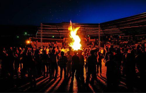mongolia children campfire