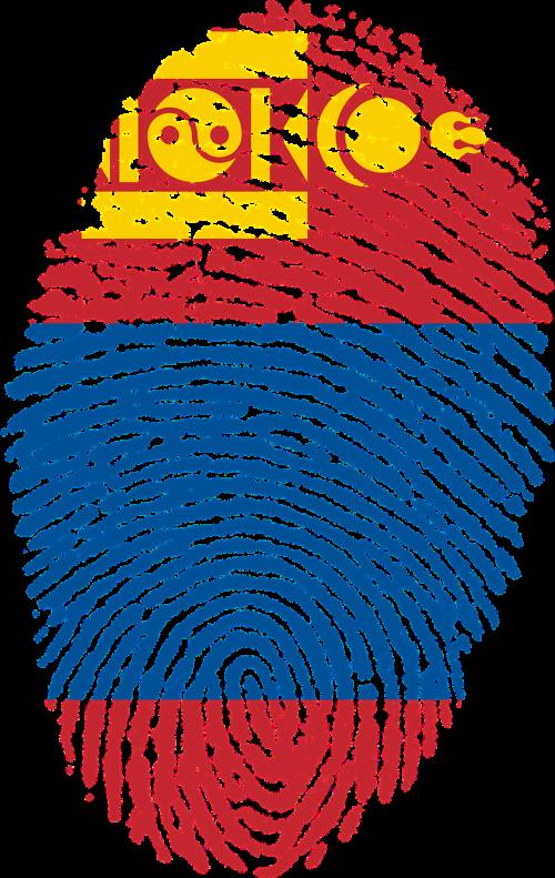 mongolia flag fingerprint