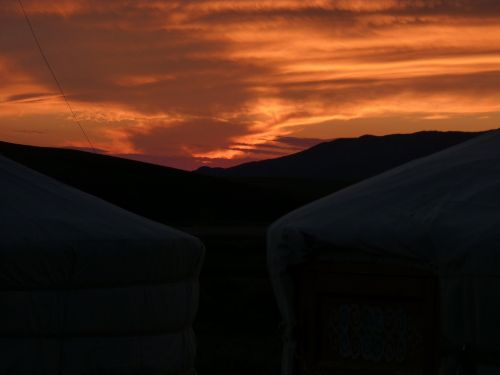 mongolia sunset asia