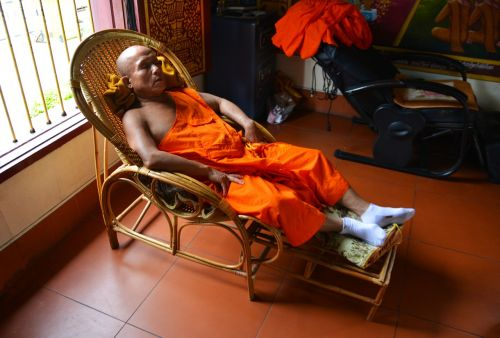 monk sleeping temple