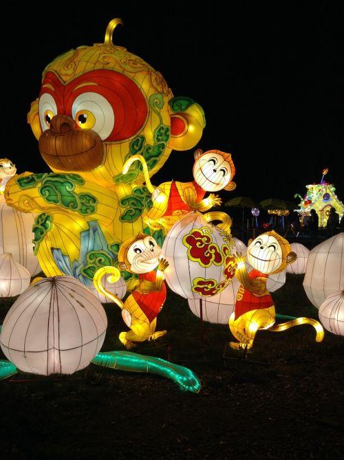 beždžionė,šilkas,Kinijos žibinto festivalis,šviesa,žibintas,festivalis,apšviestos figūros
