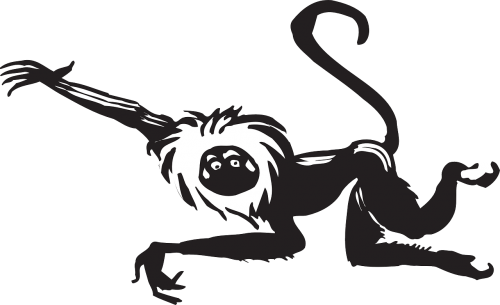 monkey black leaping