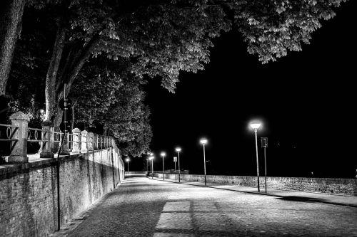 monochrome urban road people