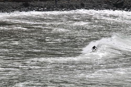 monochrome surfer sport