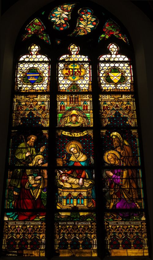 mons church stained glass windows