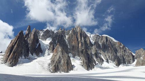 mont blanc du tacul high mountains alpine