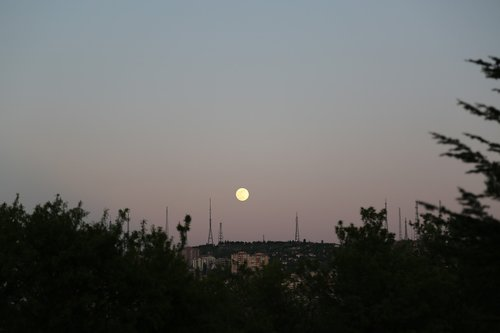 month  moon rising  in the evening