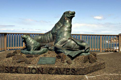 paminklas,jūrų liūto urvas,oregonas,usa,kranto,kranto linija