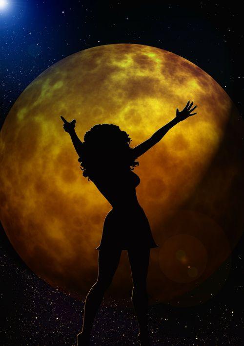 moon woman silhouette