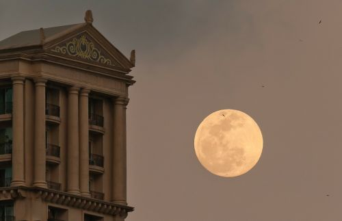 moon building evening