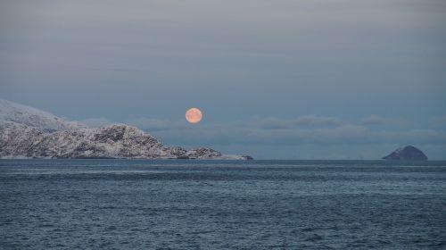 moon mountain sea