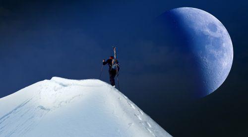 moon mountains snow