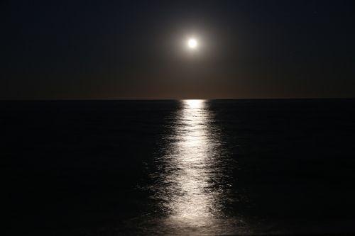 moon water reflection night