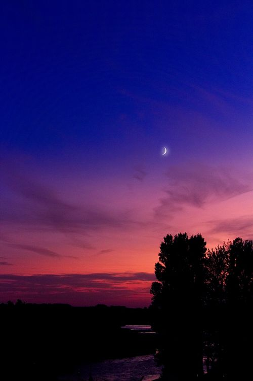 moon sunset starry sky