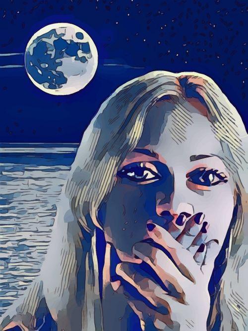 moon woman scared