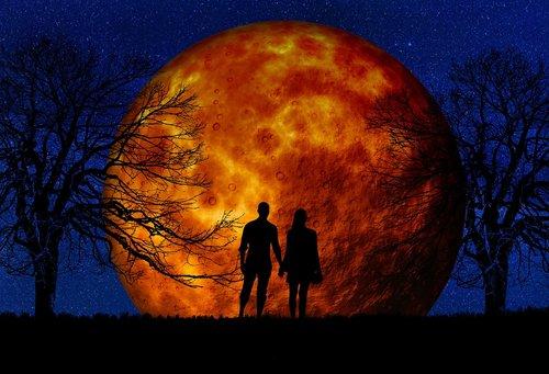 moon  blood moon  pair