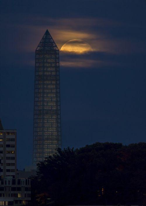 Moon Behind Washington Monument