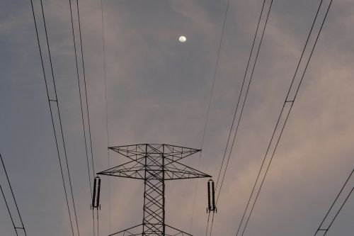 moonrise moon electric pylon