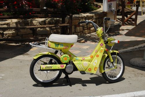 moped colorful crete