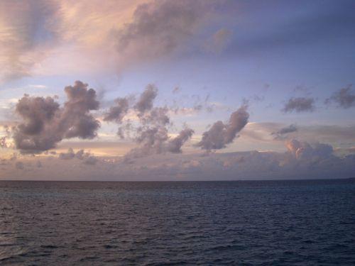 morning glow blue sea clouds