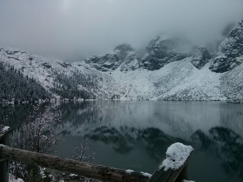morskie oko winter in the mountains tatry