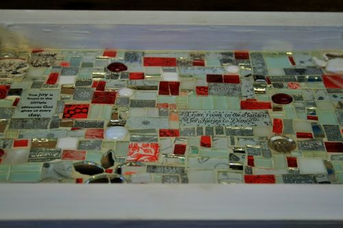 Mosaic Handwork In Red And White