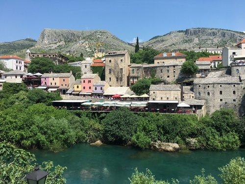 mostar  river  bosnia