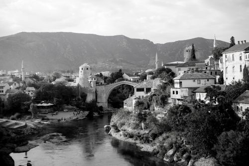 mostar montenegro black and white photo