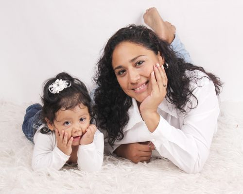 motina, dukra, kartu, šeima, laimė