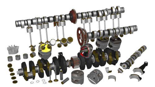 motorcycle engine raytracing