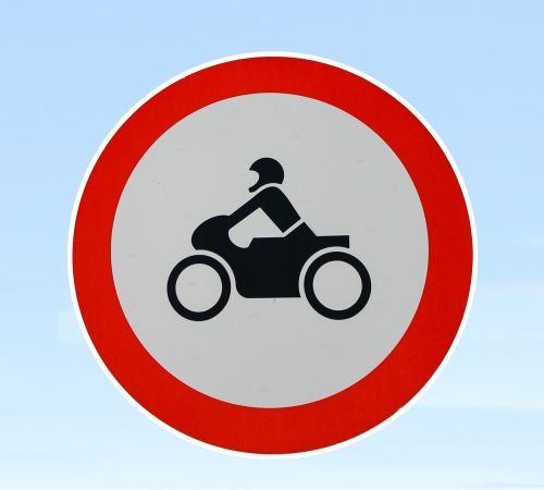 motorcycle prohibited traffic sign