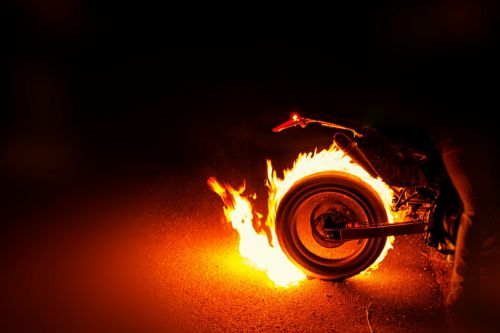 motorcycle tires fire burning