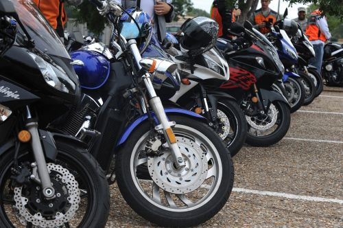 motorcycles parked row