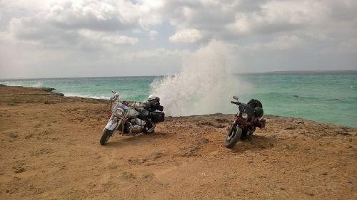 motorcycles sea wave