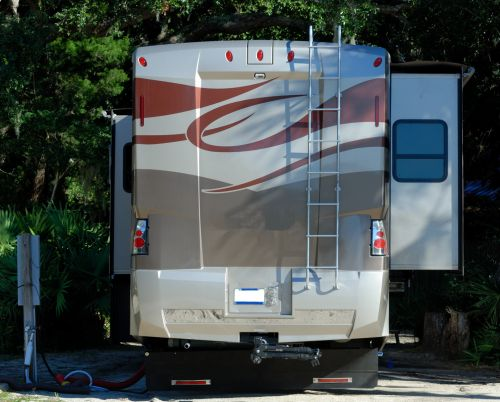 Motorhome Parked At Campsite