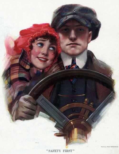Motoring Couple Vintage Poster