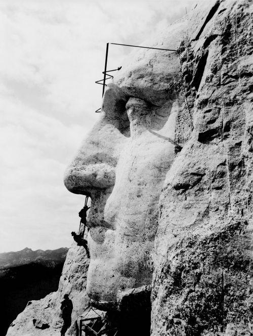 Rašmoro kalnas,Džordžas Vašingtonas,statyba,menas,monumentalus pastatas,usa,prezidentas,1932,juoda ir balta