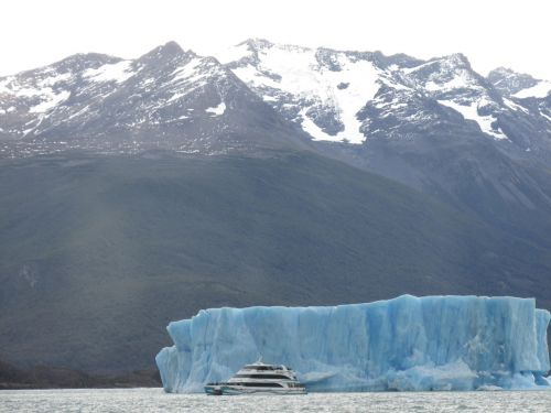mountain glacier boat