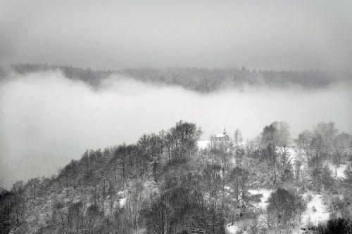 mountain chapel mist