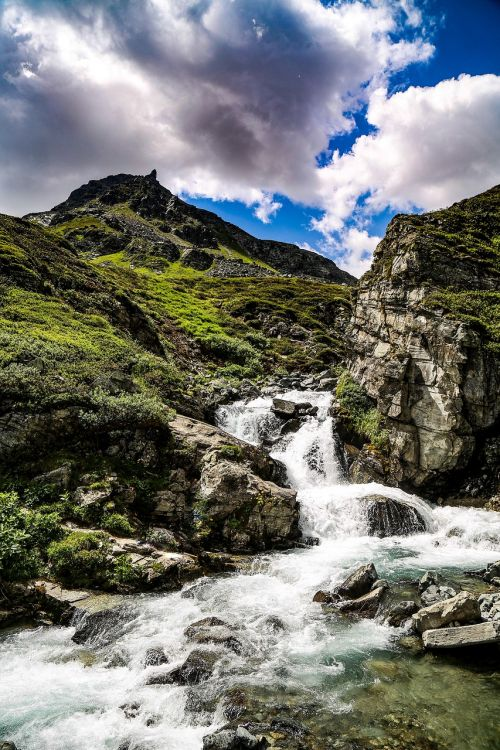 mountain sky water