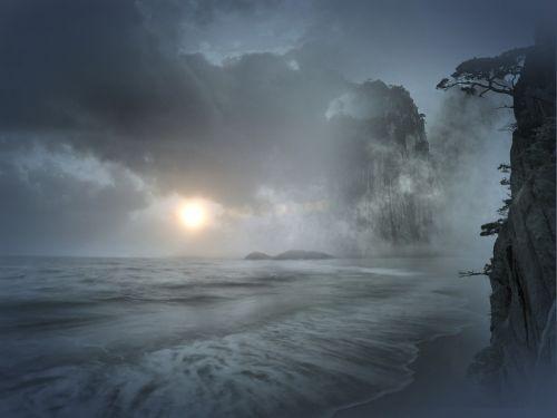 mountain sea water