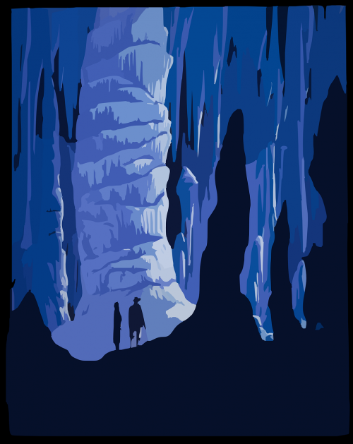 mountain blue cavern poster
