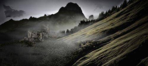 mountain fog dawn